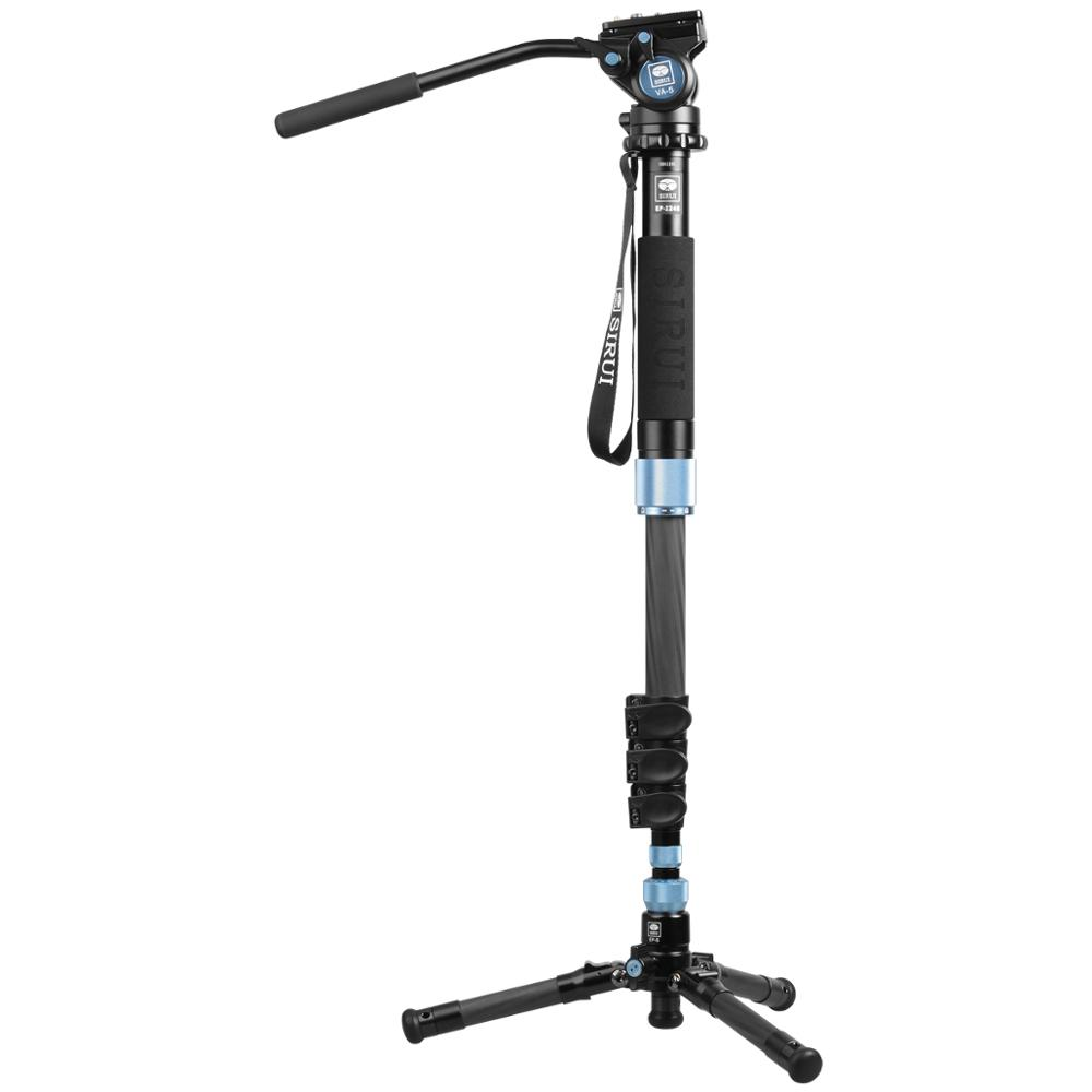 цена на Sirui EP-224S EP224S Carbon Fiber Monopod Table Top Tripod With VA-5 Video Head 4 Section Max Loading 8kg DHL Free Shipping