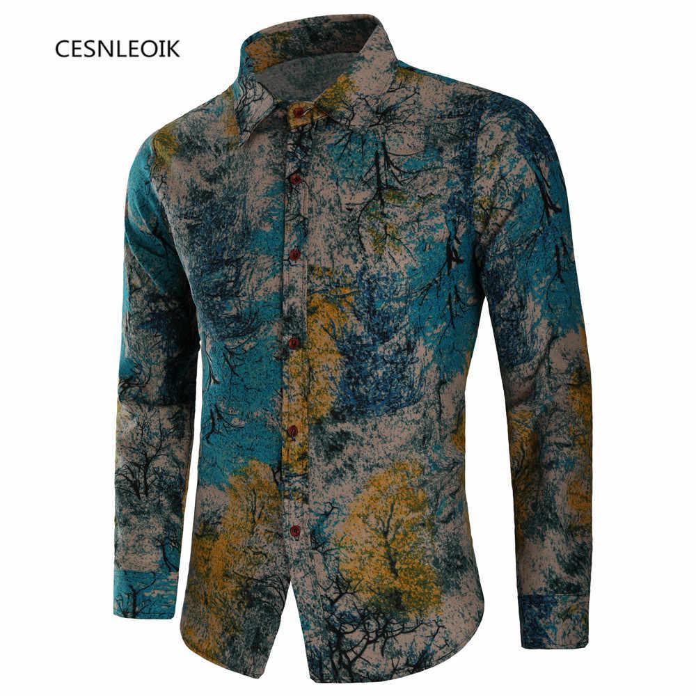 Uomini Camicia A Maniche Lunghe di Modo Floreale di Stampa di Sesso Maschile Camicette Marchio di Abbigliamento casual camicia Uomo camisa masculina