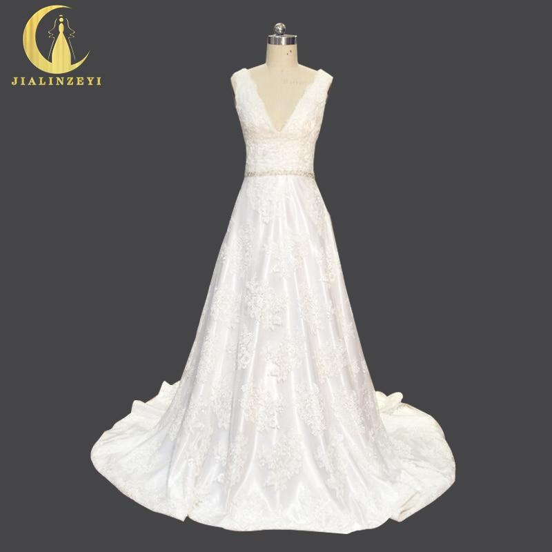 Rhinam sebenar sampel mewah dalam manik renda leher manik dengan kasut sekerat a-line seksi gaun pengantin perkahwinan elegan pakaian perkahwinan