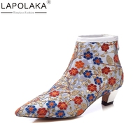LAPOLAKA 2018 Genuine Leather Large Size 34 42 Zip Up Embroidery Women Shoes Woman Casual Mid