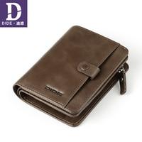 DIDE 100% Cow Genuine Leather Men Wallets Vintage Wallet Male Zipper Coin Purse Wallet Card Holder Men Dropshipping