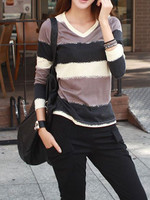 Fashion New Women Simple V Neck Long Sleeve T Shirt Casual Slim Autumn All Match Stripe