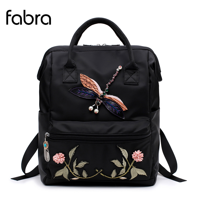 Fabra Fashion Nylon Backpack Women School Bags Teenage Girls Dragonfly Embroidery Practical Functional Travel Female Backpack