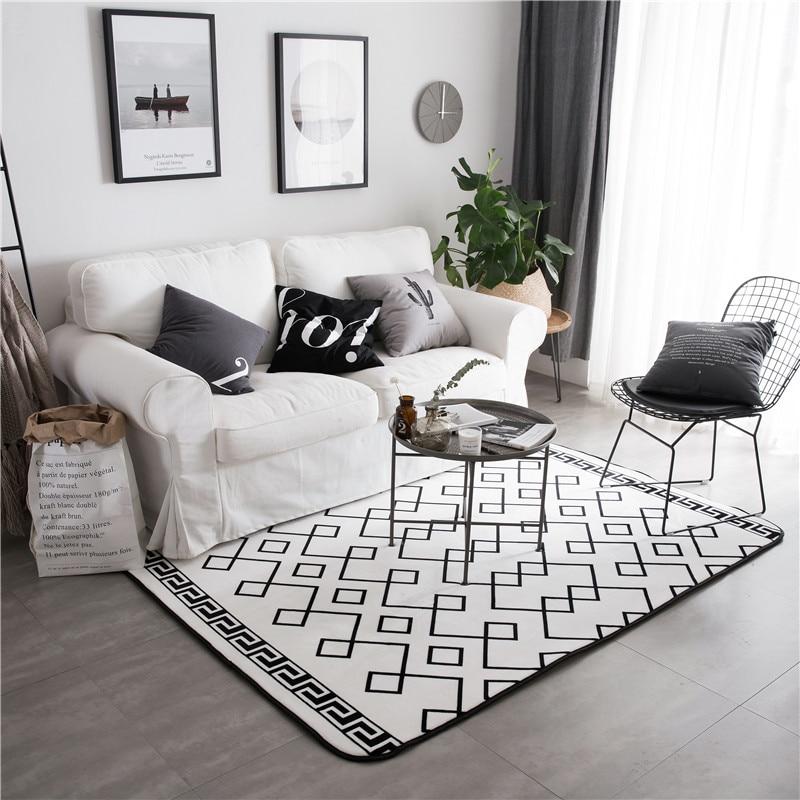 White Carpet Bedroom Rug On Carpet Bedroom Wood Bedroom Design Ideas Modern Bedroom Art: Fashion Modern Simplicity Geometric Back White Living Room