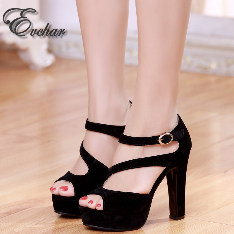 ФОТО women square super high heels shoes sexy lady platform Rome summer fashion peep toe pumps buckle strap party shoes size 31-43