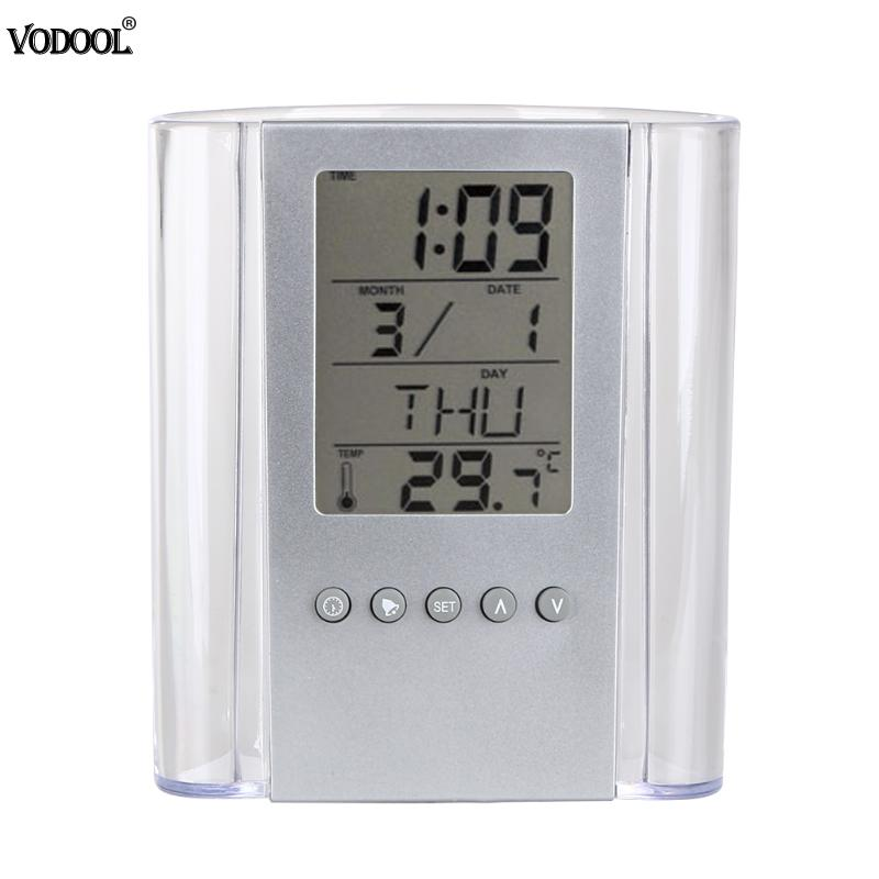 LCD Digital Alarm Clock Desk Pencil Pen Holder Transparent Pen Holder Calendar Container Organizer Built-in CR2025 Battery