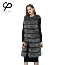 CP Faux Bont Fabriek Vos Kunstmatige Bont Vest Vrouwen Winter Fashion Warm Fox Faux Fur Jas Vest Dames Faux Furs CP05(China)