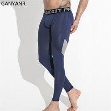 GANYANR Running Tights Men Basketball Fitness Compression Pants Gym Leggings Bodybuilding Winter Long Slim skinny Sports Jogging