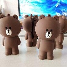Корейский 3D мультфильм коричневый медведь Кони силиконовый контейнер для карандаша сумка Детский подарок игрушки совместим с милый чехол для монет брелок