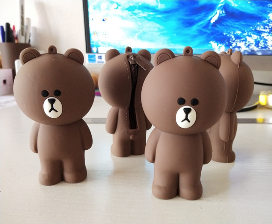 Korean 3D Cartoon Brown Bear Cony Silicone Container For Pencil Bag Children's Gift Toys Compatible With Cute Coin Case Keychain