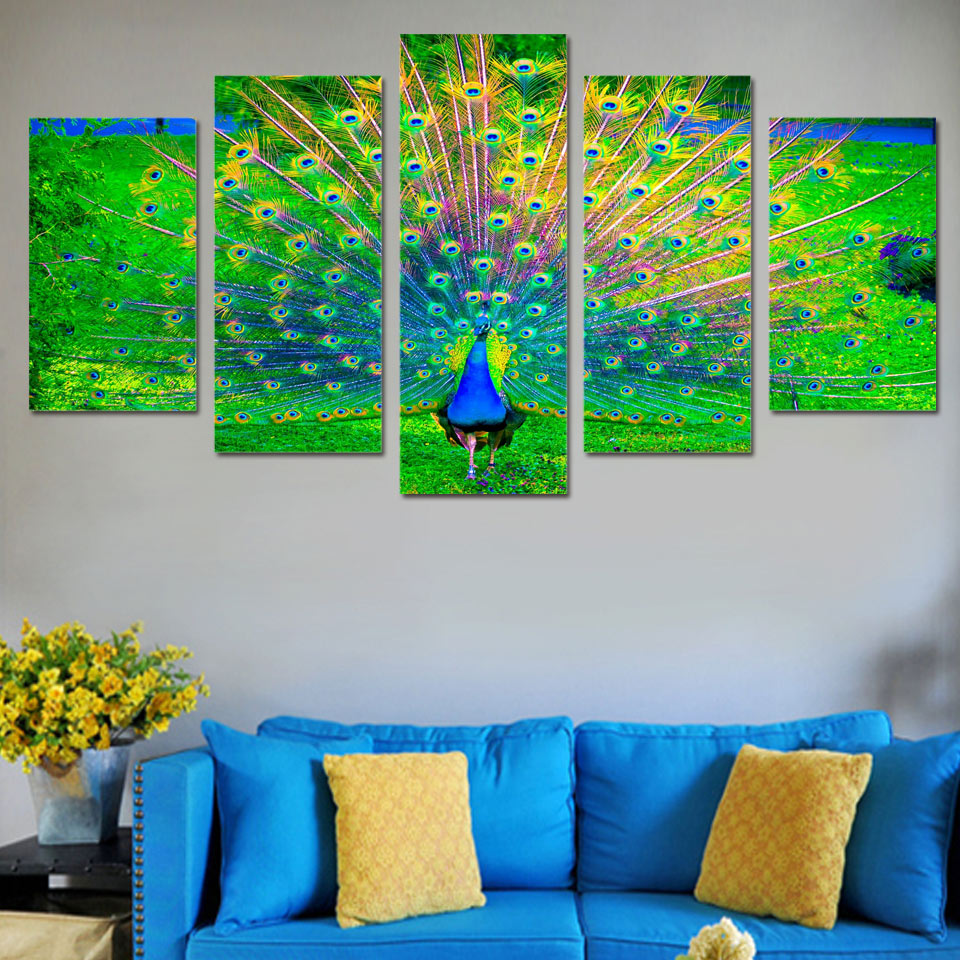 Hot sale wall art canvas painting peacock open green for How to canvas art