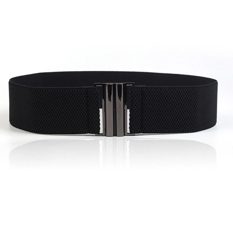High Quality Elastic Band Wide Belts Simple Down Coat Waist Belt Female Buckle Black Strap Dress Decoration Accessories