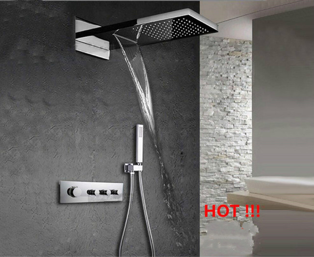 550X230mm Brass Square Ceiling Monsoon shower thermostatic valve ...