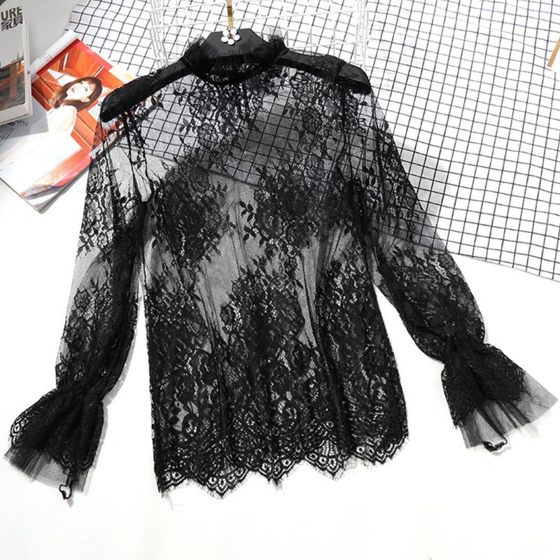 Womens Long Flare Sleeve Sheer Mesh Blouse Hollow Out Embroidered Floral Lace Shirt Swimsuit Cover Up Ruffles Neck Solid Color B