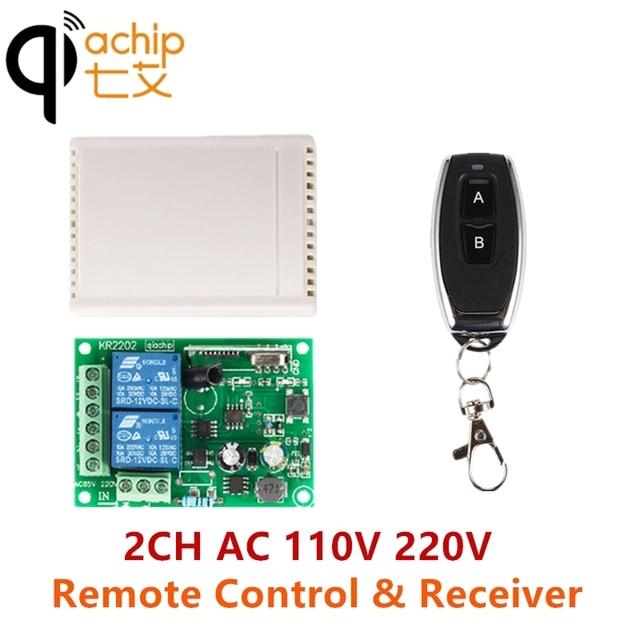 QIACHIP relé de interruptor de Control remoto inalámbrico 2CH AC 110V 220V 433Mhz, receptor y transmisor de 2 canales para puerta de luz, puerta de garaje y coche