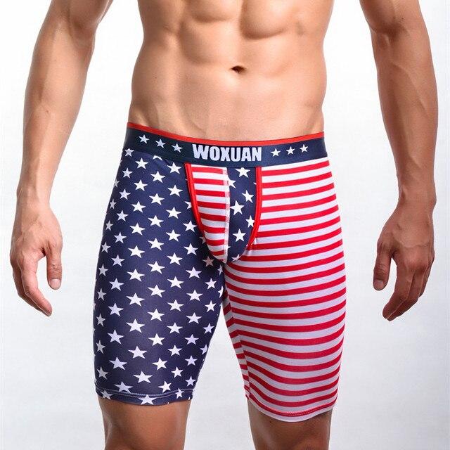 US Flag Pattern Mens Long Boxer Shorts Underwear High Quality Cotton Man Sexy Bulge Underpants Home Sleep Short Pants