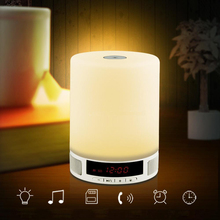Wireless Bluetooth Function Smart phone Table Speaker Alarm Clock Newest Stereo LED light Mini Sound for iPhone iPad