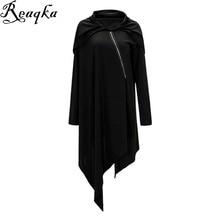 Reaqka women Hooded Tunic dress 2016 New Fashion Winter Casual woman irregular black Loose Long Sleeve Warm Pullovers Dress XL