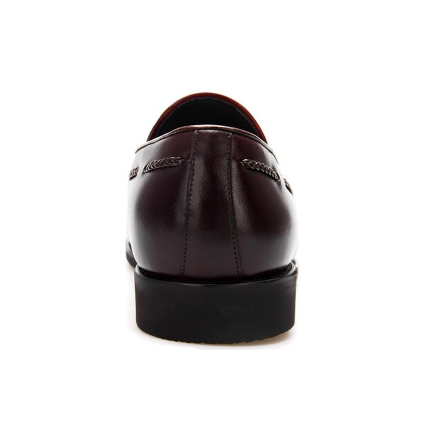 Fête Hauteur Chaussures Bql74 Glands À Main Luxe Sur De Rond La Véritable En Glisser Homme Noir Marque Augmentant Mocassins Appartements Pour Hommes marron Cuir Bout yw80vmNnO