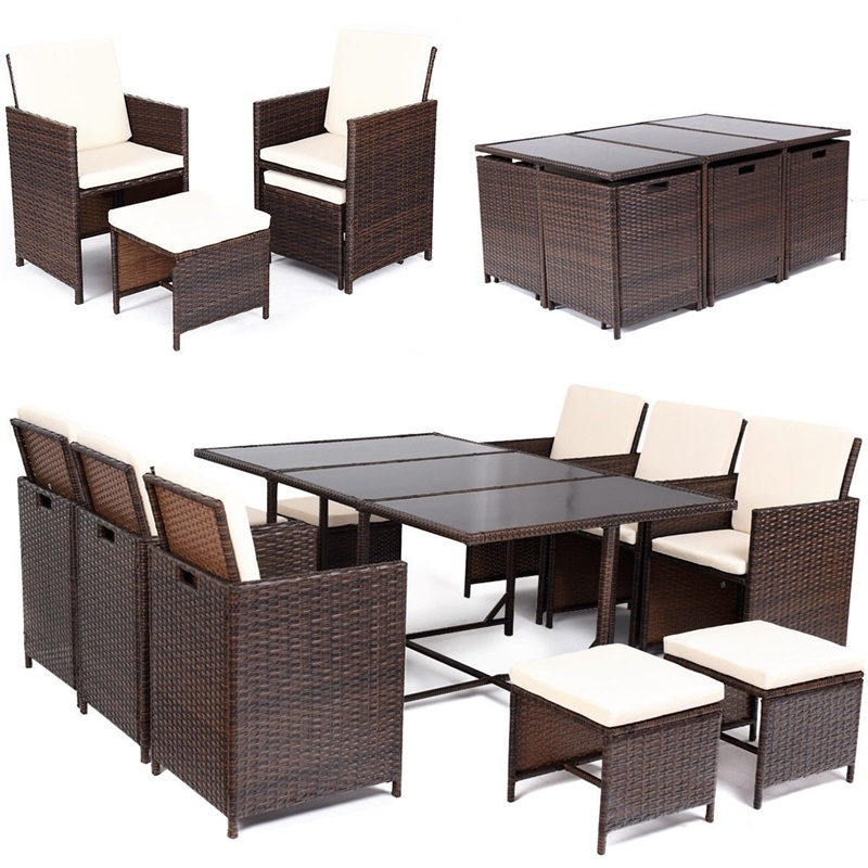 11 Pcs Set Modern Outdoor Patio Dining Rattan Wicker Table And