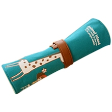 PPYY NEW -Pencil case is big capacity canvas contracted coils of pencil bags girl lovely pencil box pen curtain green