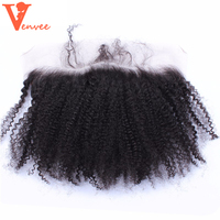 SIik Base Lace Frontal Closure With Baby Hair 13X4 Mongolian Afro Kinky Curly Remy Hair Natural