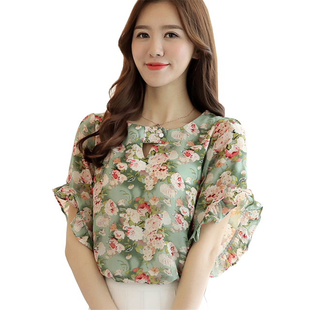 0cfde8c4c3f 2017 Summer Women Shirt Fashion Short Butterfly Sleeve O-Neck Hollow Out Chiffon  Blouse Floral Print Ladies Casual Blouses Tops