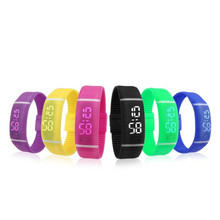 Mens Womens Rubber LED Watch Date Sports Bracelet Digital Wrist Watch Candy Color Fashion Watches for