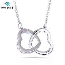 DovEggs حقيقية 18 K 750 الذهب الأبيض المتشابكة القلب شكل المويسانتي قلادة قلادة للنساء الزفاف و عيد الحب هدية