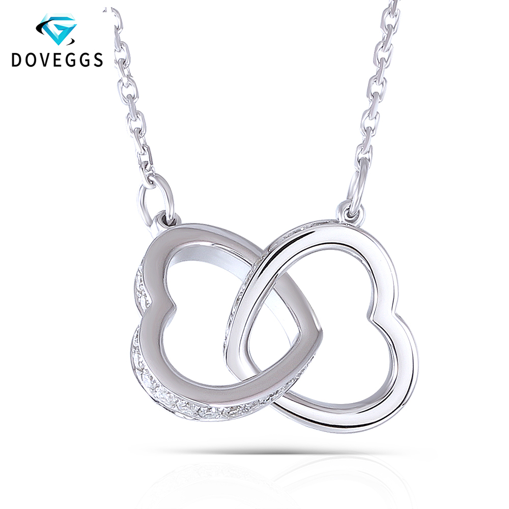DovEggs Genuine 18K 750 White Gold Interlocking Heart Shape Moissanite Pendant Necklace For Women Wedding And Valentines Gift