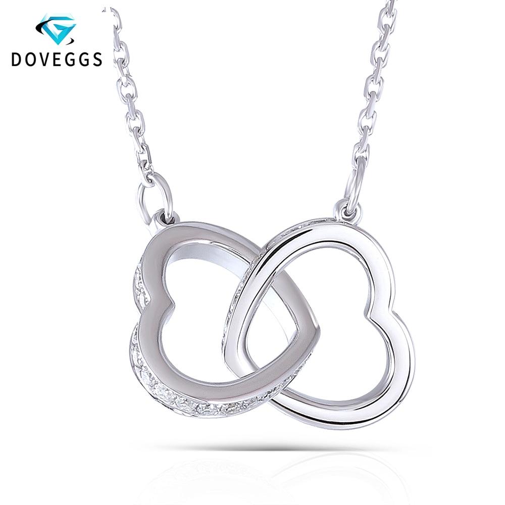 DovEggs Genuine 18K 750 White Gold Interlocking Heart Shape Moissanite Pendant Necklace For Women Wedding And Valentines Gift