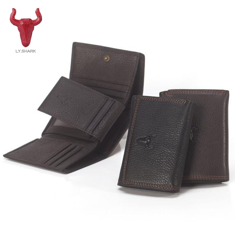 LY.SHARK Men Wallets Genuine Leather Wallet male clutch coin purse Card Holder short small Wallet Dollar Price money bag for men joyir vintage men genuine leather wallet short small wallet male slim purse mini wallet coin purse money credit card holder 523