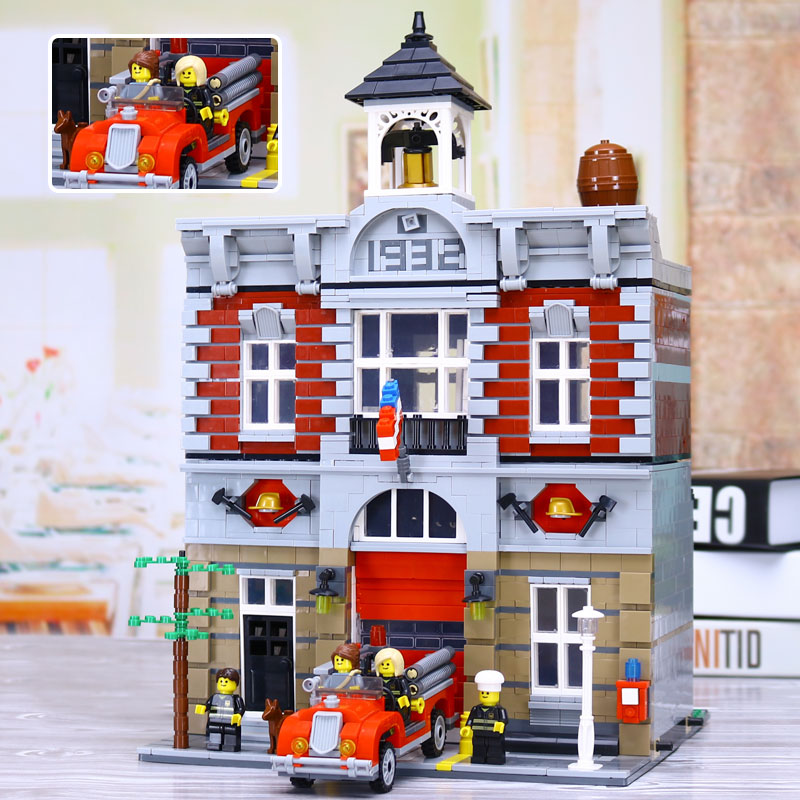 New Lepin 15004 2313Pcs City Street Fire Brigade Model Building Kits Blocks Bricks Compatible legoed 10197 Brick a toy a dream lepin 15008 2462pcs city street creator green grocer model building kits blocks bricks compatible 10185