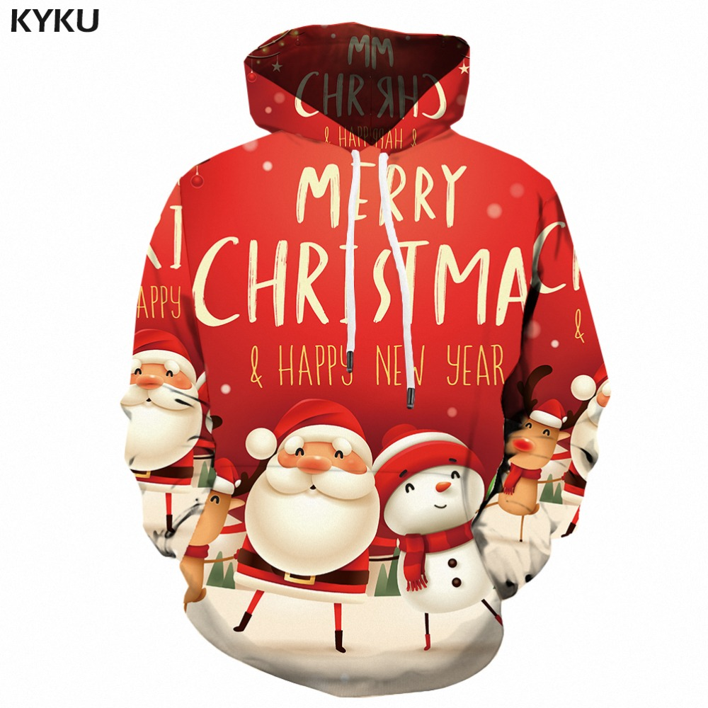 KYKU Santa Claus Hoodie Men Christmas Hoodies Xmas Snowman 3d Printed Sweatshirt Party Funny Mens Clothing Hooded Pullover New