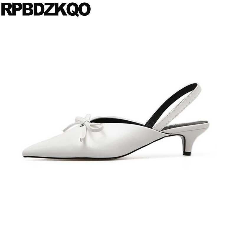 11902e2612a Japanese Shoes Slingback Bow White Pointed Toe Kitten High Heels ...