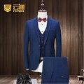 Custom Azul Oscuro de Los Hombres Trajes de Marca Chaqueta de Moda Slim Fit Chaqueta de traje de Novia de Fiesta de Negocios Macho Pantalones Chaleco de Esmoquin 3 pieza