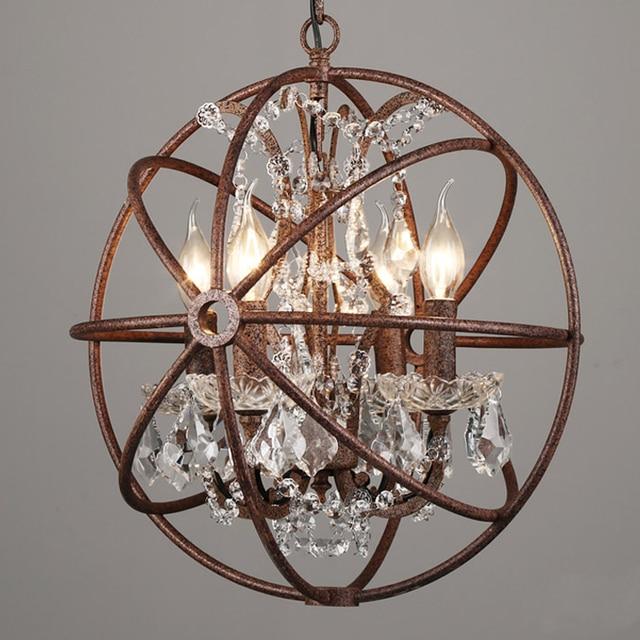 Very 4/5/6/8 lights Rustic Iron crystal Orb Sphere Pendant lamp light  CW43
