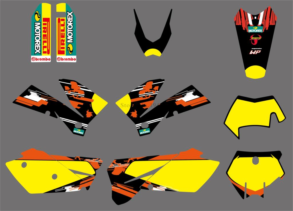 H2CNC 2 styles Team Graphics Stickers Decals Kit For KTM 125 200 250 300 400 450 525 540 SX XC EXC MXC XCF XCW 2005-2007 все цены