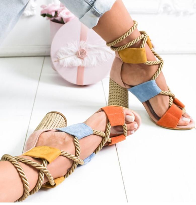 HTB1wnKUaSSD3KVjSZFKq6z10VXaW Women Sandals 2019 Women Heels Shoes For Gladiator Sandals Women High Heels Summer Shoes Woman Lace Up Peep Toe Chaussures Femme