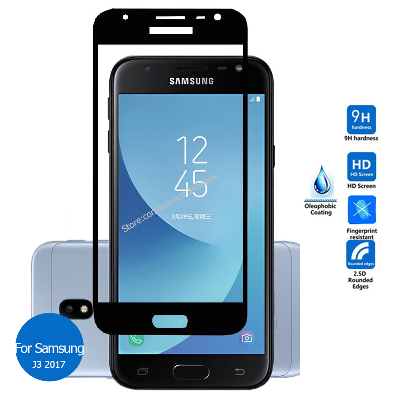 For Samsung Galaxy J3 <font><b>2017</b></font> Full Cover Tempered Glass Screen Protector 9h Safety Protective Film On <font><b>J</b></font> 3 Pro <font><b>330F</b></font> J330F Sm-J330F image