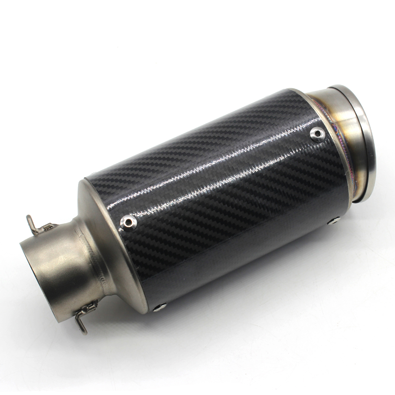 ФОТО Universal Motorcycle Exhaust Pipe Muffler Carbon Fiber Modified Exhaust Pipe Fits 36-51mm For Yamaha R6 R1 Honda cbr400