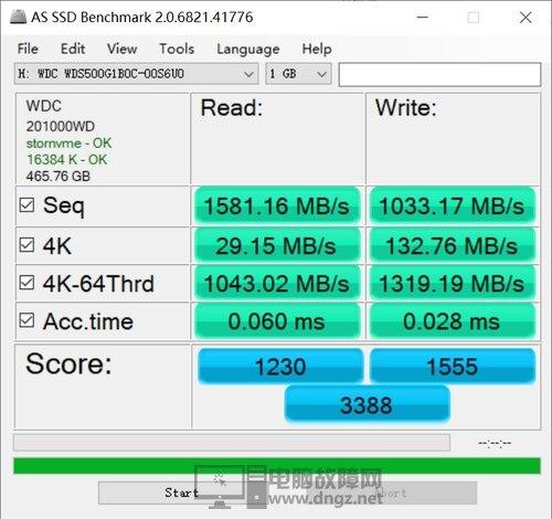西数NVMe固态硬盘 蓝盘SN500测评9