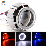2 Pcs Round H1 H4 H7 DC12V 35W Xenon Projector Lens Light+Double Angel Eyes 3000LM/PCS CCFL with Lamp Starter Wiring Harness