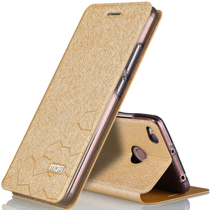 For Xiaomi redmi 4x4 phone cases flip leather inner metal front cover original stand case for