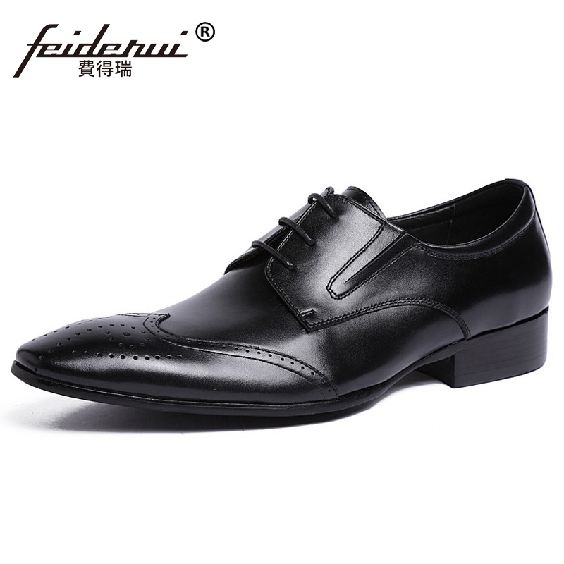 High Quality Wing Tip Carved Man Dress Shoes Vintage Genuine Leather Formal Oxfords Pointed Toe Derby Men's Brogue Flats UH39 ruimosi british style brand man formal dress shoes vintage genuine leather brogue oxfords pointed toe men s wing tip flats ce38