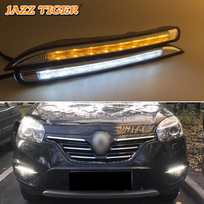 JAZZ TIGER 2PCS Yellow Turning Signal Function 12V Car DRL LED Daytime Running Light Daylight For Renault Koleos 2010 - 2014 12v led car drl turning signal
