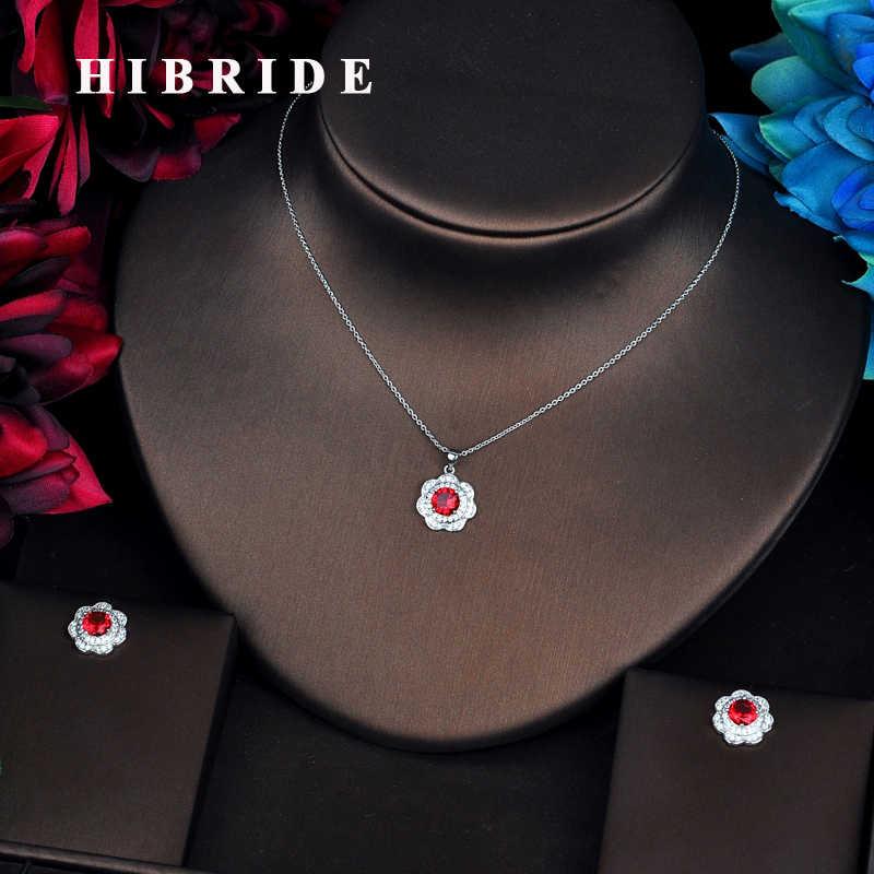 HIBRIDE Luxus Weiß Gold Farbe Link Kette Anhänger Frauen Braut Schmuck Sets Halskette Sets Ohrringe Modeschmuck N-543