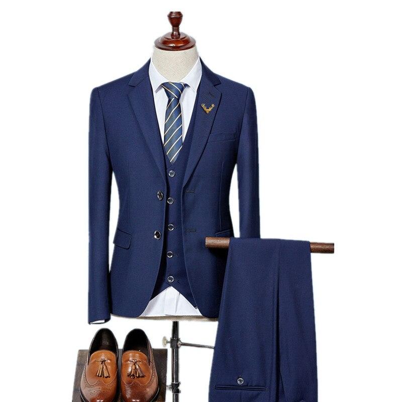 (Куртка + жилет + Брюки для девочек) 2017 высокое качество Для мужчин Костюмы модные Для мужчин Slim Fit Бизнес Свадебный костюм Мужчины Свадебный