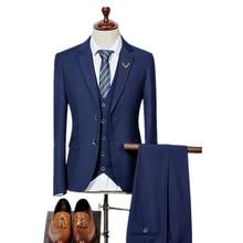 (Jacket+Vest+Pants) 2017 High quality Men Suits Fashion Men's Slim Fit business wedding Suit men Wedding suit  5 colors