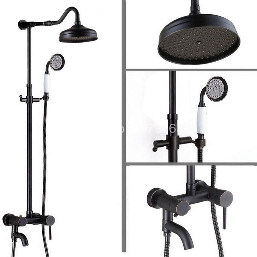 Black Oil Rubbed Brass Single Lever Wall Mounted Bathroom Rain Shower Faucet Round Shower Head Handheld Shower Set ars644